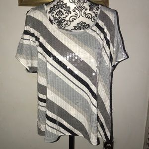 White, Black, Gray Sequence Shirt